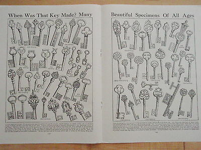 Types of KEYS old vintage double page print HISTORIC LOCK interest