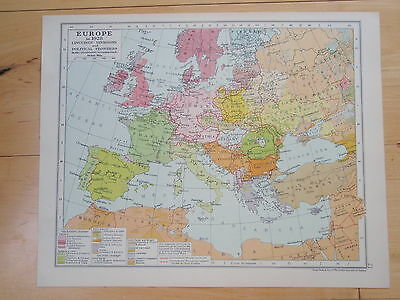 MAP OF EUROPE old vintage retro print 1928 LANGUAGE & POLITICAL