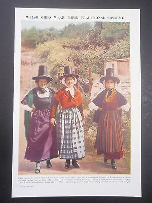 WELSH LADIES old vintage retro print Traditional costume dress of WALES