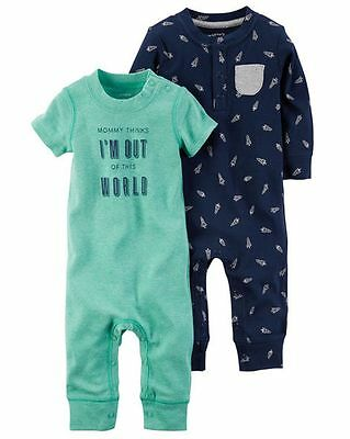 New Carter's Sleep N Play 2 Pack Rompers Space Rocket Size 3m 6m NWT  Boy