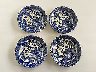 Lot of 4 Blue Willow Ware JAPAN - TEA CUP SAUCERS