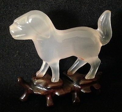 Shirley Temple Black Estate: Chinese Stone Animal, Dog, on Carved Wooden Stand