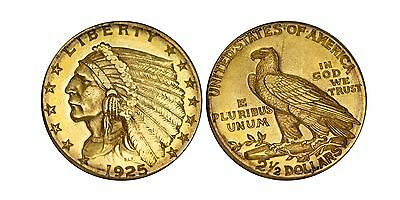 1925-D Indian Head $2.5 Gold Quarter Eagle AU Condtion