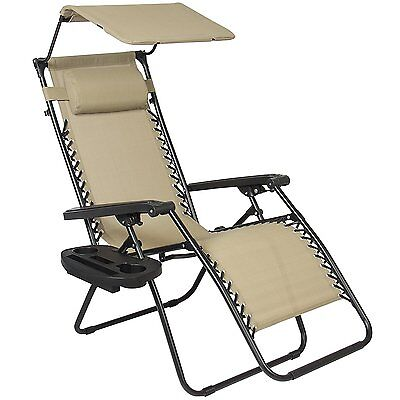 Best Choice Products Zero Gravity Canopy Sunshade Lounge Chair Cup Holder Patio