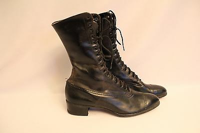 "Neat Antique Victorian Women's Black Lace Up Leather Boots/shoes - 9-1/2"" Length"
