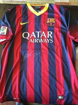 "Lionel ""Leo"" Messi Autographed Signed Barcelona Nike Authentic Jersey L PSA/DNA"