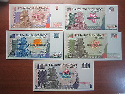 Reserve Bank Of Zimbabwe Bank Notes Uncirculated  5 10 20 50 100 Dollars note194