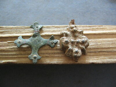 2 EARLY CHRISTIAN ROMAN ANCIENT LEGIONARY BRONZE AND LEAD CROSSES 4-6 ct. A.D.