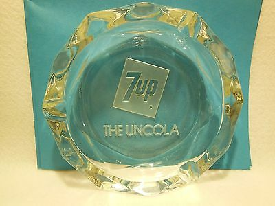 Vintage 7 Up The Uncola Clear Glass Ashtray Octagon Shape Cigarette Tobacco