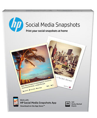 Brand NEW HP Social Media Snapshots Removable Sticky Photo Paper-25 sht/4 x 5 in