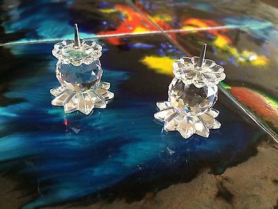 """Vintage Swarovski Crystal Candle Sticks Small 1"""" Pair Clear Glass"""