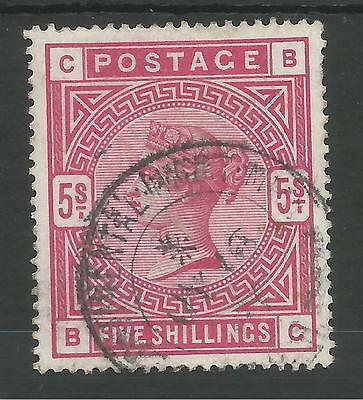 Sg181 The 1884 Qv 5/- Crimson (Bc) Fine  Used With Cds Cancel Cat £250+