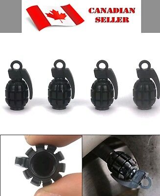 4pc Grenade Style Tire Valve Stem Caps BLACK - FAST SHIPPING
