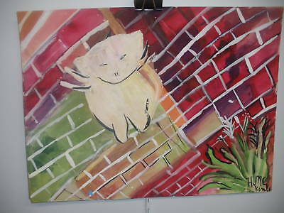 Listed Hazel Mckinley Abstract Cat Watercolor Painting
