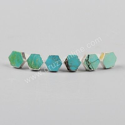 Clearance RANDOM 1 Pair 8mm Silver Plated Hexagon Natural Turquoise Studs TS0611
