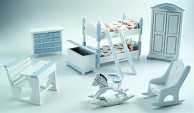1:12th Scale 7 Piece Blue & White Nursery Set Dolls House Miniature Bed Room 900