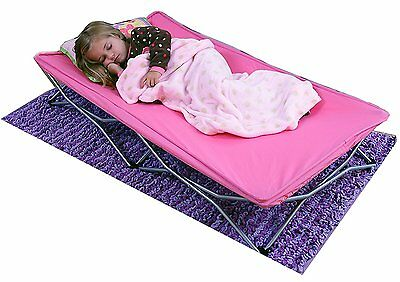 Portable Toddler Bed Folding Cot Kid Sleepover Camping Travel Carrying Case PINK