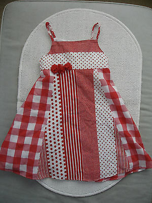 Girls Red & White Summer Dress Age 4 years- Cool Club