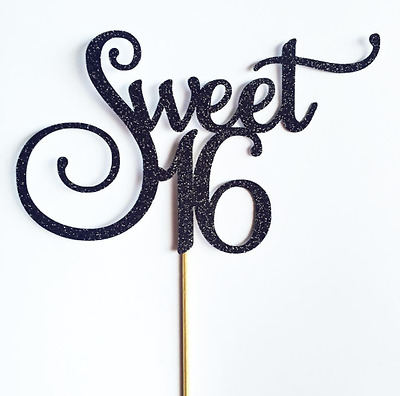 Sweet 16 Cake Topper - Assorted Colours - Sixteen - Happy 16th - Sweet Sixteen