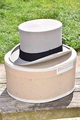 Vintage Christys Mens Grey Top Hat Tophat Wedding Head London Wear Boxed Size 7
