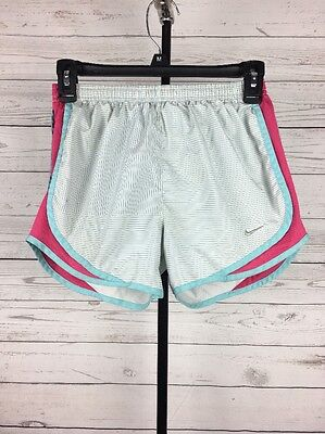Women's Nike Dri Fit Size XS Running Shorts Striped Blue Pink White Athletic