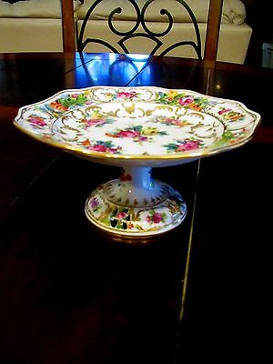 Antique Small DRESDEN PIERCED RETICULATED COMPOTE Tazza Bon Bon Plate