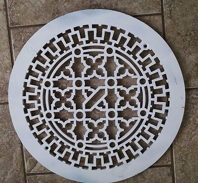 Antique  Floor Grate Farmhouse  14'' round, white with lovely pattern