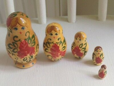 Vintage Wooden Russian Dolls hand painted Nesting Set of 5  Miniature 3.5""