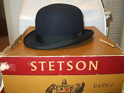 Vintage Stetson 7 1/4 Black Derby with box. Excellent Condition