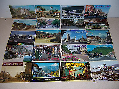 1970s-90s USA DOWNTOWN CITY & TOWN STREET SCENE VTG 4X6 POSTCARD LOT of 20 DIFF