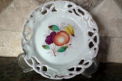 """Vintage Reticulated Edge Plate With Fruit Center Unmarked 7 1/4"""" Wide"""