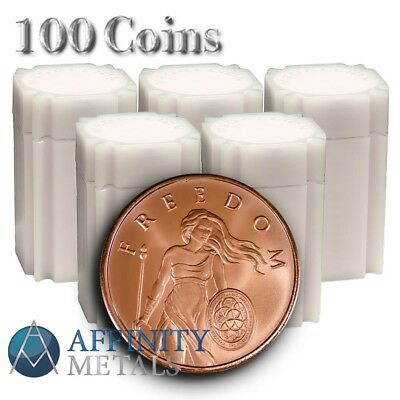 100 Coins- Silver Shield Standing Freedom 1 oz .999 Copper Bullion Rounds