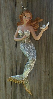 Kurt Adler Brunette Mermaid with Clam Shell & Silver Tail Resin Ornament c6794