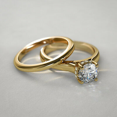 Round Cut Diamond 14K Yellow Gold Over Bridal Set Engagement Ring & Wedding Band