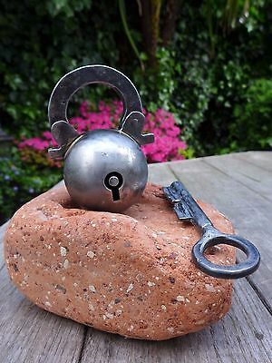 Ball / Apple / Sphere Shaped Padlock with one key, working order, collector