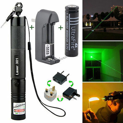 Green Light 532nm Laser Pointer Pen 1mW Military Lazer Beam Burning Adjust Focus
