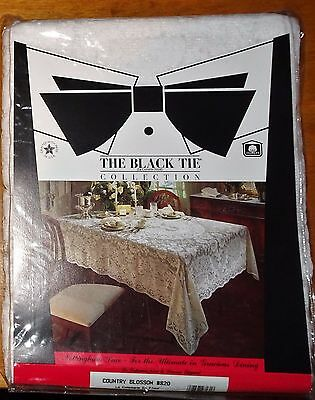"""LACE TABLECLOTH~BLACK TIE COLLECTION~ 52"""" x 70"""" Rect.~WHITE~COUNTRY BLOSSOM"""
