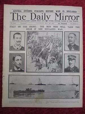 1915 WW1 The Daily Mirror May 22 Italy On The Brink Of War  ORIGINAL us6