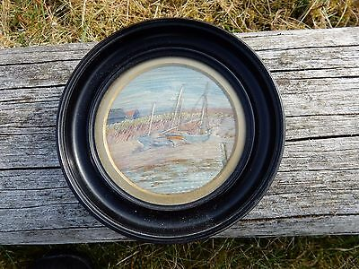 Edwardian Embroidered Miniature Harbour  Shipping Scene  Vgc