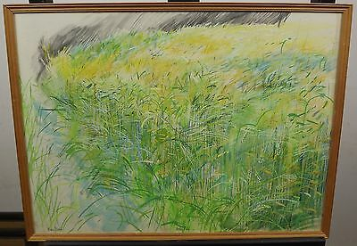Framed Mary Martin Watercolour Mixed Media Painting 'barley Field' Picture