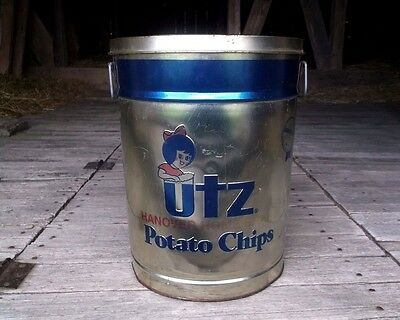 "Vintage ""UTZ"" 13.0"" POTATO CHIPS CAN, Hanover PA advertising JUMBO TIN, VTG, old"