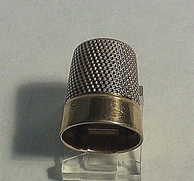 Antique Simons Brothers 14kt  Solid Gold Plain Band Size 9 Thimble # 417