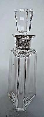 Antique Edwardian 1905 Solid / Sterling Silver Collared Scent / Perfume Bottle