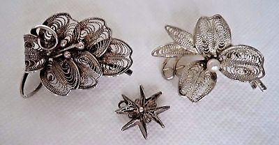 Pair Vintage Solid Silver Filigree Brooches And Pendant