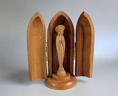 old travel altar with Madonna, Hand-carved, Home altar Wood, Winged altar