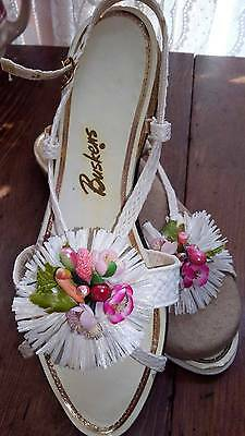 Vintage 50's 60's Buskens Open Toe Strappy Straw Flower Sandals