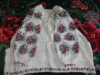 Vintage Ukrainian Dress Hand Embroidered Vyshyvanka XSmall Hemp Cross Stitch