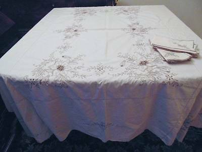 vintage light taupe embroidered tablecloth and napkins