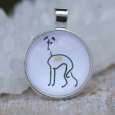 Unique Whimsical Greyhound Whippet Pendant Necklace Siver ANIMAL RESCUE DONATION