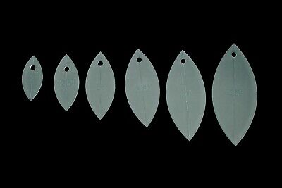 """A set of 6 petal/leaf acrylic sewing/quilting/craft templates 2"""" - 4.5"""""""